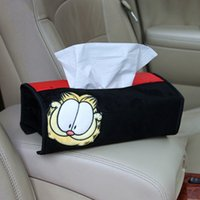 Wholesale Tissue Box Cartoon - New Garfield Cartoon Car Tissue Box Cover Home Tissue Decorative Cover Multi-functional Dust Cover Tissue Paper Pouch