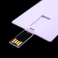 unidade flash usb usb venda por atacado-100 PCS 128 MB / 256 MB / 512 MB / 1 GB / 2 GB / 4 GB / 8 GB / 16 GB de Cartão de Crédito USB Drive 2.0 Memória Flash Pendrives Vara Em Branco Terno Branco para o Logotipo de Impressão