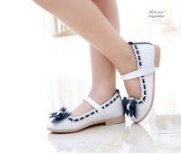 Wholesale Dresses For Girls Korean - Girls white dress shoes models bowknot princess shoes light leather Korean students 3 color baby leather shoes for children
