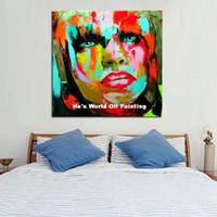 pinturas abstratas senhora venda por atacado-Pintado À Mão Retrato Humano Melhor Qualidade Pinturas A Óleo Abstrata Moderna Arte Colorida Parede Pictures Moda Lady On Canvas