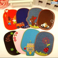 Wholesale Clothes Elbow - 4.5*3 inch Multicolor Optional Cartoon DIY Sewing Patches Applique Elbow Knee Patches For Coat Jeans Clothes Kids Iron-On Patch GPO-003
