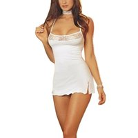 Wholesale Adult Sleepwear Babydolls - Sexy Women Lingerie Mini Night Dress 2016 European Style Lace Halter Babydolls G-string Pajamas Girl White Nightgown Sleepwear