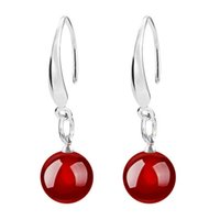 Wholesale sterling silver drop earings - New Fashion Jewelry Womens 925 sterling Silver Natural Red Agate Drop Dangle Hook Earrings Ear Ring ear studs eardrop Accessories Earings