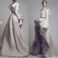 Wholesale Wedding Dresses Open Feather Train - Krikor Jabotian Long Sleeves Wedding Dresses 2016 Short Font Long Back Grey Feather Satin Open Back Bridal Gowns Custom Made