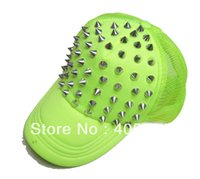 Wholesale Wholesale Spiky Caps - Wholesale-NEON Fluorescent Color Spiky Rivets Mesh baseball hat Punk Hiphop Studded Ball cap