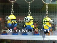 Wholesale Dad 3d Glasses - Wholesale-5sets 3pcs set Despicable Me 2 Keychain Precious Milk Dad 3D Glasses Capsules Minions Figures Toys