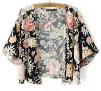 Wholesale Kimono European Style - 2016 New Fashion European and American style Women's Black background peony flowers kimono shirt st586