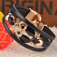 Wholesale Hand Braided Leather Bracelets - Wholesale-2015 new Fashion 5 Colors colorful Owl Beaded Leather Bracelet Strap Braided Chain Multilayer Hand Cuff Bangle FMHM093#M1