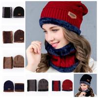 Wholesale Neckerchiefs For Men - Winter Hat for Women Men Warm CapThick Scarf Skullies Beanies Wool Hat Unisex Cap Beanie Knitted Cap Neckerchief 2pcs Set KKA3192