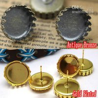 WHOLESALE 100pcs Antique Bronze / Gold Plated Stud Earring Jóias com interno 15mm Crown Edge Bezel Setting Tray for Cameo Cabochons