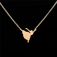 Wholesale Gold Ballerina - Stainless Steel Cute Ballerina Necklace Pendant Women Fashion Design Unique Dancing Girl Charm Necklaces Ptaty Jewellery Accessories