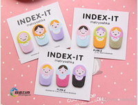 Wholesale Doll Bookmarks - 50sets lot Cute Fun Matryoshka Doll Sticker Post It Bookmark Marker Memo Flags Sticky Notes Free Shipping