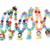 Wholesale Princess Fairy Tales - 2015 Girls Chunky Bubblegum Beaded Necklace Kids girl fashion fairy Tale princess charms jewelry babies fashion accessories
