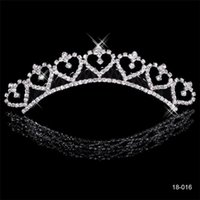 Wholesale Hair Cuff Silver - Popular Alloy Shining Rhinestones Crown Wedding Bride Tiaras Crystal Crowns For Bride Silver Plated Wedding Party In Stock 2015 Cheap 18016