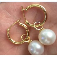 Wholesale Australia South Sea Pearls - perfect round 10-11mm white Australia south sea pearl dangle earring 14K GOLD