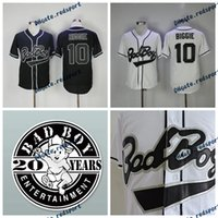Pas cher Biggie Smalls 10 Bad Boy Noir Baseball Jersey Hommes Biggie Smalls Stitched Baseball Jerseys Cool Base BadBoy Chemises 20 Ans Patch