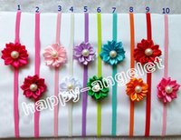 "Wholesale thin elastic baby headbands - 16pcs Newborn Thin Headbands With Polygonal cloth 2"" flower Kids Elastic Headband Baby Hair Accessories Infant Pearl Flower Hairbands PJ5251"