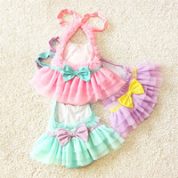Wholesale Cute Pink Swim - 2016 New kids swimsuits Baby Swimwear Princess Girls Swimsuits Cute Bow Summer Beachwear Children Swimming Suits Lace Bikini With Cap A5147