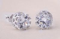 925 adet gümüş taç takılar toptan satış-Wholeale Yeni Moda Büyüleyici Klasik Lady 925 Ayar Gümüş Kristal Rhinestone Taç Set Kulak Saplama Küpe Hediye Kadınlar Kızlar Için