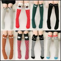 Wholesale Toddler Tube Socks Kids - Prettybaby kids socks toddler animal model knee high stockings fox bear cat style cotton loose socks tube socks Pt0087#
