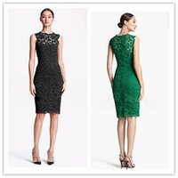 Hot Sale Kurze Fashion Damen Kleid Vintage-Ärmelloses O-Neck Lace Solid Kleid Slim Knielanges Sommerkleid Damen S M L