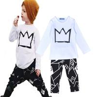 Wholesale Girs Coat - Retail Bobo Choses Baby Boy Colthing Sets 2016 Brand Crown Printed T-shirts + Geometric Pattern Pants Kids 2pcs Set Girs Boys Clothes Set