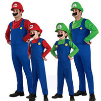 Wholesale mario luigi costumes adults - Kids Adult Mens Super Mario and Luigi Bros Fancy Dress Halloween Costume Plumber 2 Size 7 Colour