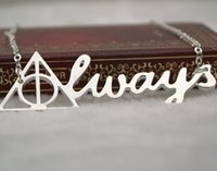 Wholesale Silver Deathly Hallows Pendant - Harry Always Necklace Silver Deathly Hallows Letter Pendant For Men And Women Wholesale Free Shipping[JN06642*10]