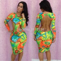 Wholesale Tropical Evening Dresses - New 2014 Sexy Bandage Dress Floral Print Tropical Bodycon Dress Women Sexy Evening Nightclub Party Dresses Howllow Out Dress 535