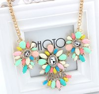 Wholesale acrylic candy color necklace resale online - Newest Bohemia Acrylic Beaded Drop Jewelry Collar Choker Flower Necklace Candy Color Statement Bijoux Party Jewelry S99897