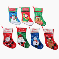 Wholesale Cartoon Christmas Ornament - Christmas Candy Bags Embellished Non Woven Fabrics Christmas Socks Party Gifts For Kids Candy Bag Christmas Stockings IC827