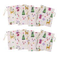 Wholesale small burlap drawstring bags resale online - 10pcs x14cm Natural Linen Jute Burlap Small Simple Sack Pouch Drawstring Gift Bag Xmas Pattern Jewery Bag Christmas Favor