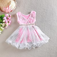 Wholesale Wholesale Tunic Chiffon - Latest design girls dress V-neck baby girl Sequins dresses children lace sundress kids tutu skirts princess girls tunic dress with pearl