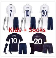 Wholesale white child suits - 2018 Harry KANE kids soccer jersey and socks DELE ALL Dembele SON LAMELA ERIKSEN SUIT boys youth children set 17 18 Football Uniform