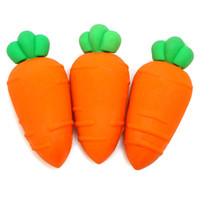 Wholesale Kids Stationery Gift Sets - 3 pcs set novelty Carrot rubber eraser creative kawaii stationery office school supplies papelaria gift for kids