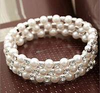 Wholesale Layers Rows - Shining 3 Row 4 Row Rhinestone Pearls Bracelet multi-layer stretch Pearls Bracelet Bridal Rhinestone Bracelet Cheap Wedding Party Jewelry