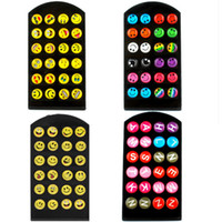 Wholesale Funny Happy Faces - 12 pairs set Round Yellow Happy Face Emoji Earrings Set Cute Funny Earrings Smiley Stud Earring Christmas Earrings Kids Jewelry D348S