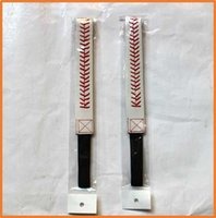 Wholesale Mexican Baseball - Wholesale high quality Fastpitch red stiching white leather headbands jewelry baseball hair accessioes for Girls Baseball hair band
