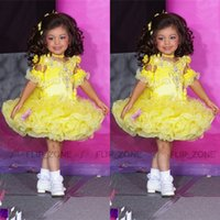 Wholesale Little Pink Tutu Dress - Yellow Tutu Glitz Little Girl's Pageant Dresses with Half Sleeves Crystal Beaded Sugars Short Toddler Kids Girl Cupcake Gowns 2015 Size 10 8