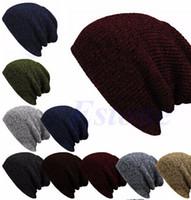 tığ işi şalvarlık şapka toptan satış-Kış Rahat Pamuk Örgü Şapka Kadın Erkek Baggy Beanie Şapka Tığ Hımbıl Boy Kayak Cap Için Sıcak