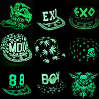 Wholesale Korea Children Summer Hats - South Korea hat hat hip-hop cap fluorescent luminous Children skull flat along the baseball cap EXO family cap Halloween Gift