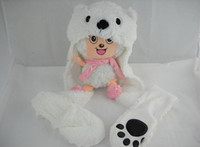 Wholesale Leaders Hat - free shipping Animal Hat with gloves leader animal glove and hat bear wholesale low price 100% new