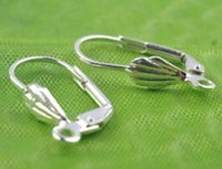 Wholesale Silver Earrings Loops - Wholesale - 100 pcs Silver plated copper French Shell Loop Earring Hooks Wires Jewelry Finding