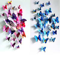 Wholesale Small Colorful Butterflies - 12Pcs Creative Colorful 3D Butterfly Wall Stickers Removable Home Decors Art DIY Plastic Decorations,Child's Gift [FG07008*1]