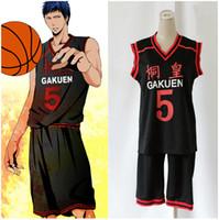 Wholesale kuroko cosplay jersey - Anime Kuroko no Basuke GAKUEN No. 5 Aomine Daiki Basketball Jersey Cosplay Costume unisex Sports Wear Uniform emboitement