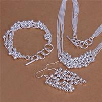 colar bead moda bonita venda por atacado-Belo design 925 sterling silver six-line luz bead colar pulseira brincos moda jóias conjunto presente de casamento frete grátis