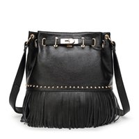 Wholesale Discount Leather Messenger Bags - wholesale luxury leather handbags discount bucket shape shoulder bag tassel totes fashion drawstring messenger bag for lady Z&M481