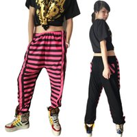 Wholesale Harem Jazz Sport Pants - New fashion Harem Hip Hop Dance Pants casual Sweatpants Costumes female stage performance wear neon stripe jazz sports trousers