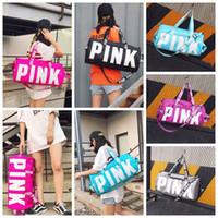 Wholesale Handbag Pink Letter Duffel Bags Women Handbag Large Capacity Travel Duffle Striped Waterproof Beach Bag Shoulder Bag Colors