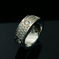 Wholesale Married Rings - Fashion Women And Men Marry Jewelry New Three Color Stainless Steel Top Simulation Diamond Ring